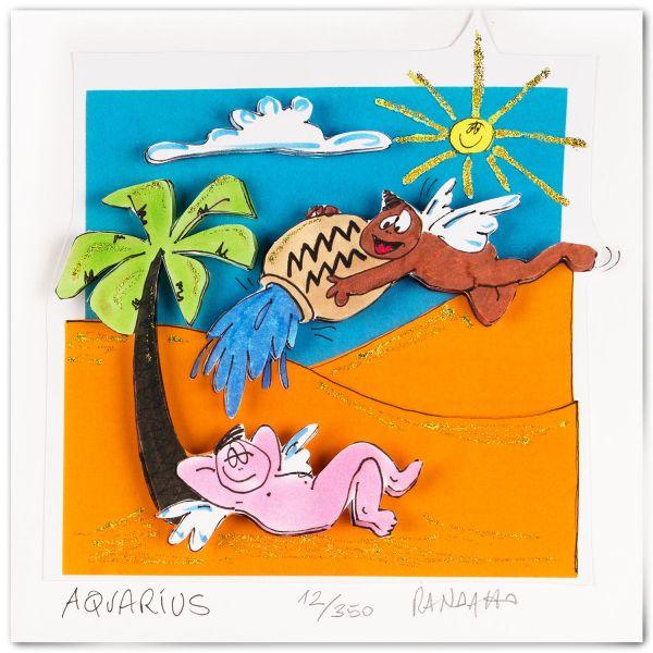 "3D-Grafik Sternzeichen Wassermann, ""Aquarius"""