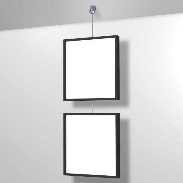 Display Seil für Bilder mit Einzelaufhängung für schräge Wände