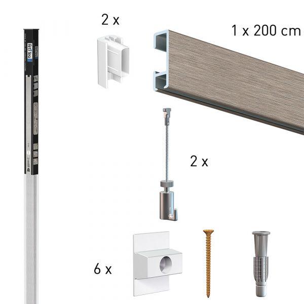 Köcher Art 2 Meter Click Rail Alu mit 2 mm Stahldraht und Haken 15 kg