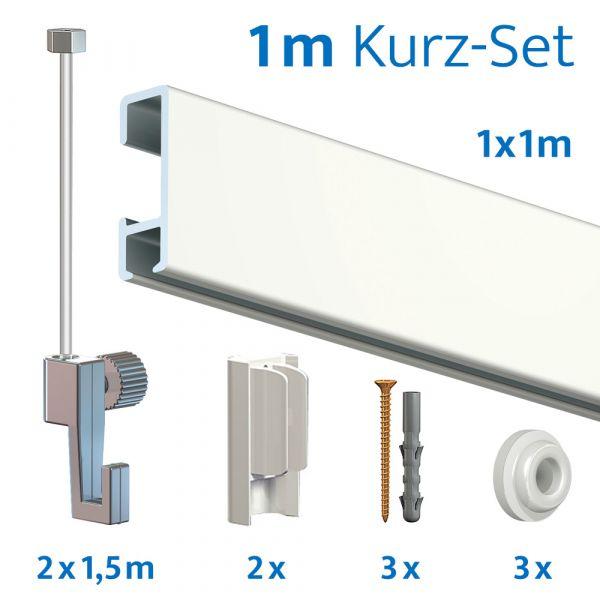 Bilderschienen Kurz-Set in Weiß, 1 Meter Länge