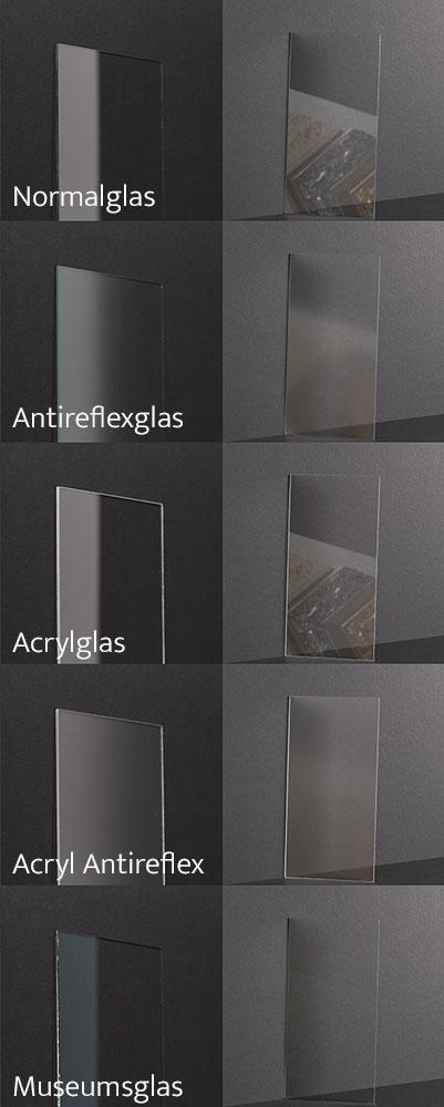 Verschiedene Glasarten für Bilderrahmen