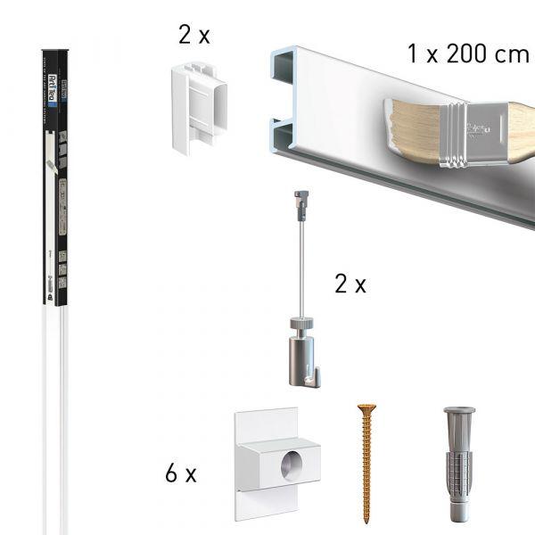 Köcher Art 2 Meter Click Rail weiß primer + 2 mm Perlon mit Haken 15 kg