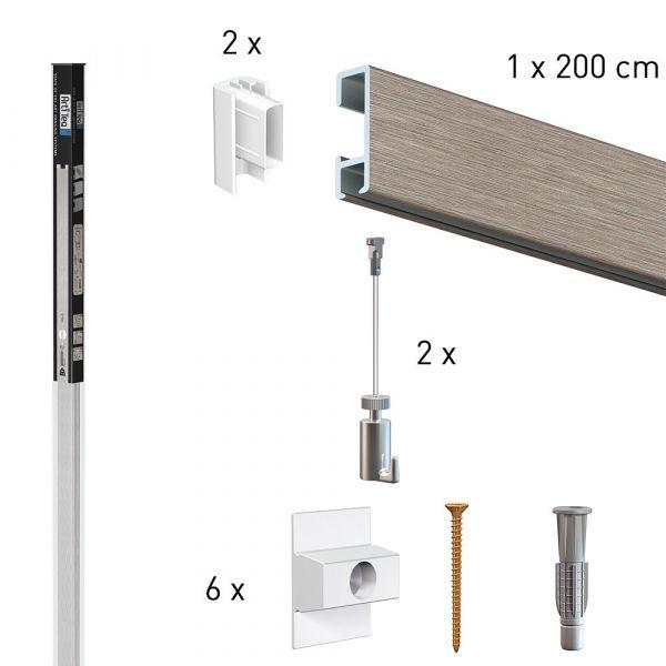 Köcher Art 2 Meter Click Rail Alu + 2 mm Perlon mit Haken 15 kg