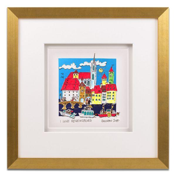 """3D-Grafik """"I Love Regensburg"""" mit Bilderrahmen"""