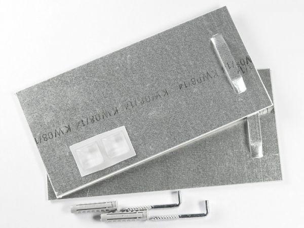 Plattenaufhänger bis 24 kg, selbstklebend mit Schrauben, Dübel