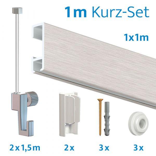 Bilderschienen Kurz-Set in Silber, 1 Meter Länge
