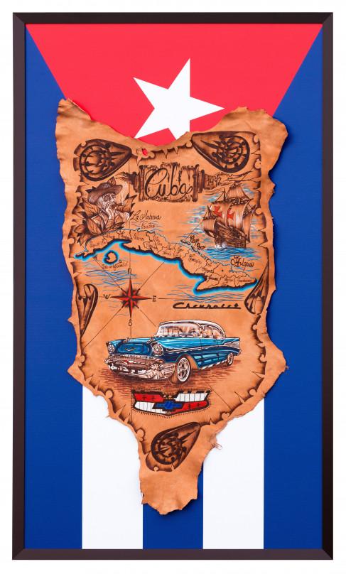 Einrahmung-Besonderer-Rahmen-Leder-Kuba-Motiv-auf-kaschierter-Leinwand