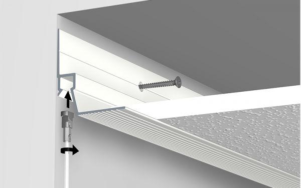 Wandanschlußleiste mit Bildaufhänger-Schiene für Akustikdecken, Montage