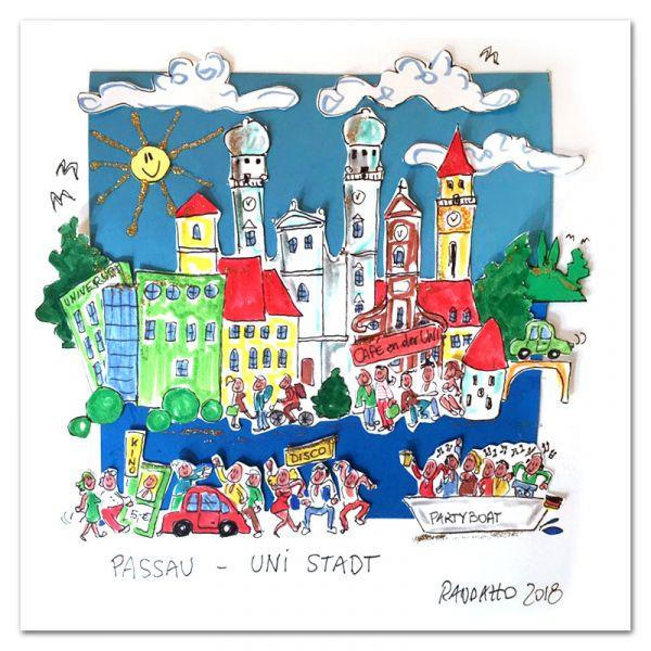"""3D-Grafik """"Passau - Uni Stadt"""""""