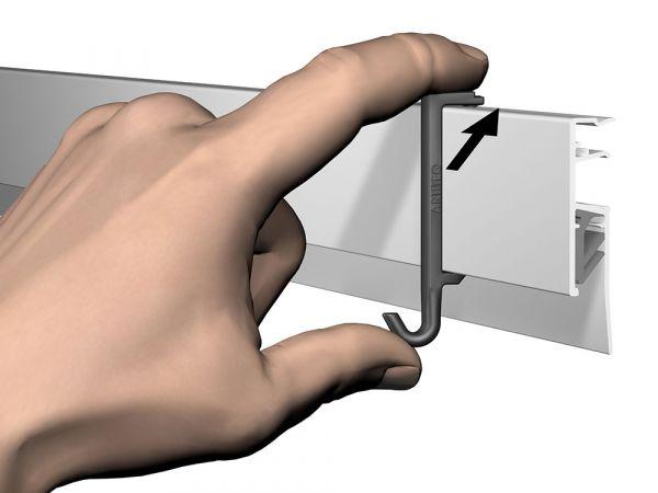 Ergänzungshaken Info Rail Clip Hanger // schwarz