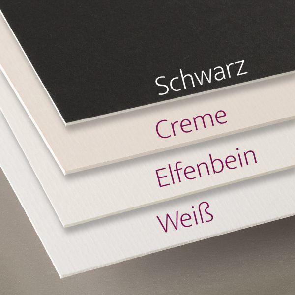 Passepartoutkarton (Passepartout Rückwand) in Weiß, Elfenbein, Creme und Schwarz