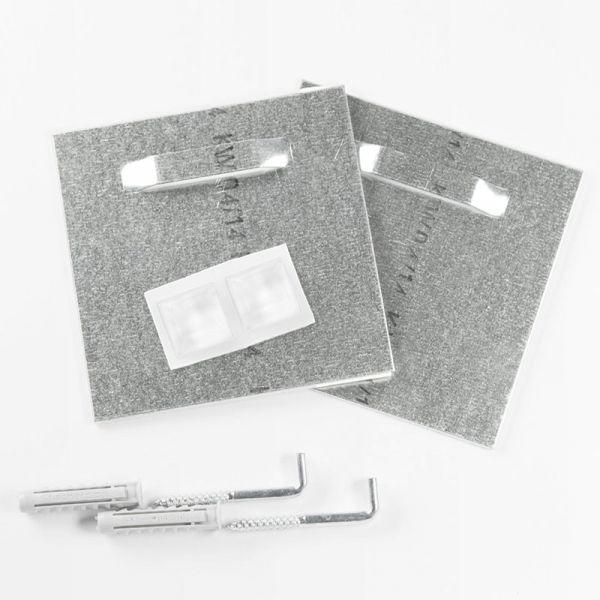 Plattenaufhänger, Spiegelaufhängung bis 12 kg, selbstklebend mit Schrauben, Dübel